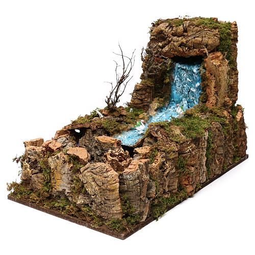 Nativity setting, waterfall with stream and pump 60x34cm 3