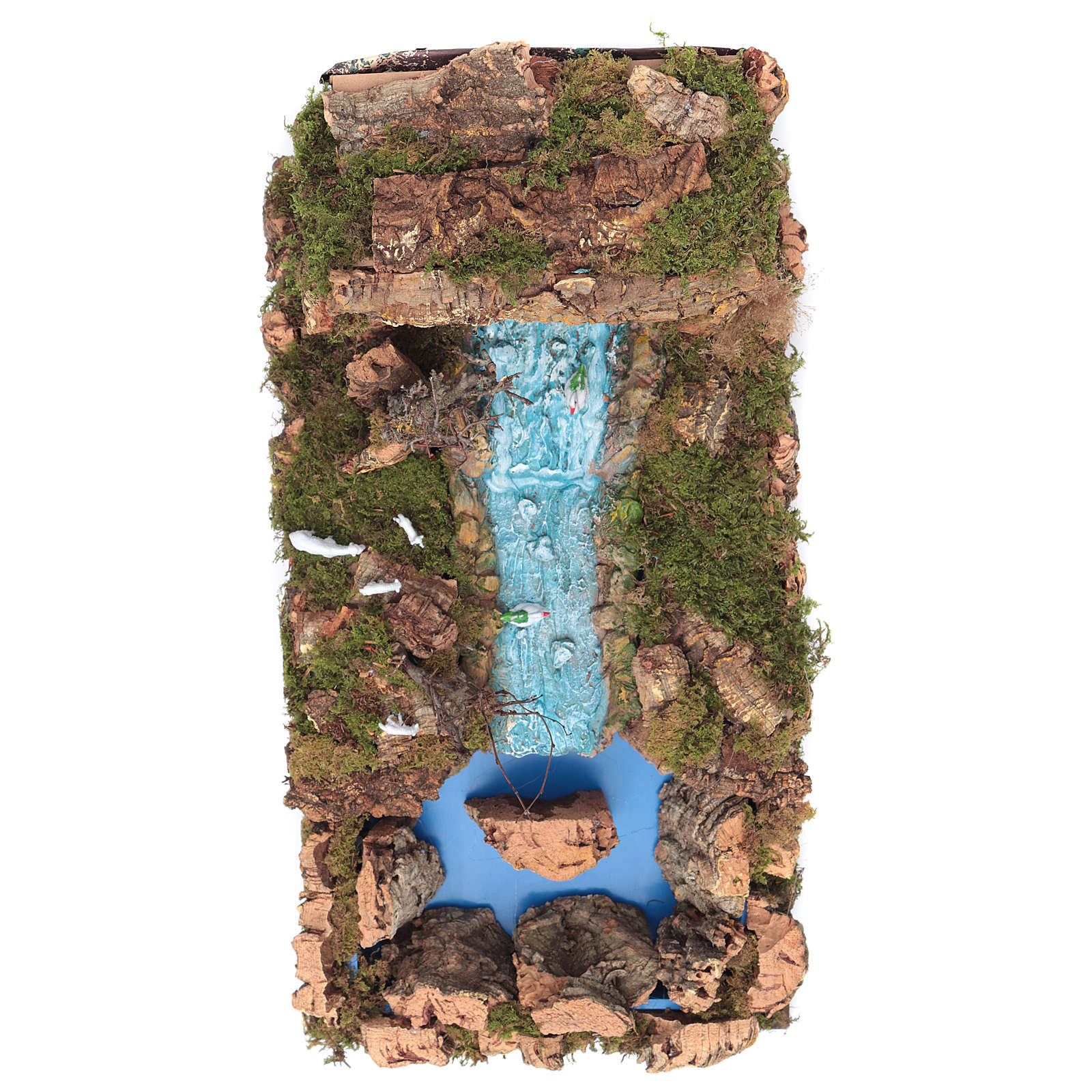 Nativity setting, waterfall with stream and pump 60x34cm 4