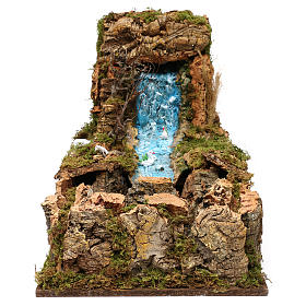 Nativity setting, waterfall with stream and pump 60x34cm s1