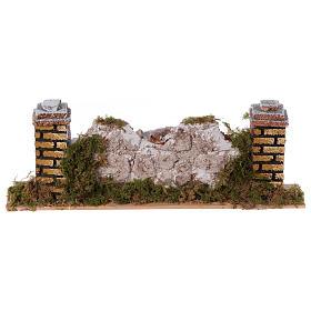 Mur en pierre en miniature avec piliers 20x3,5x6,5 s1