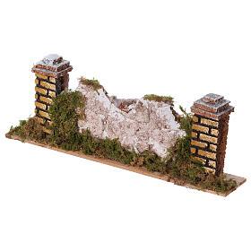 Mur en pierre en miniature avec piliers 20x3,5x6,5 s2