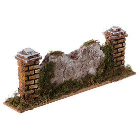 Mur en pierre en miniature avec piliers 20x3,5x6,5 s3