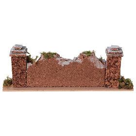 Mur en pierre en miniature avec piliers 20x3,5x6,5 s4