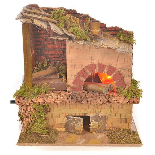 Four à bois factice effet flammes crèche 15x10x15 cm 1