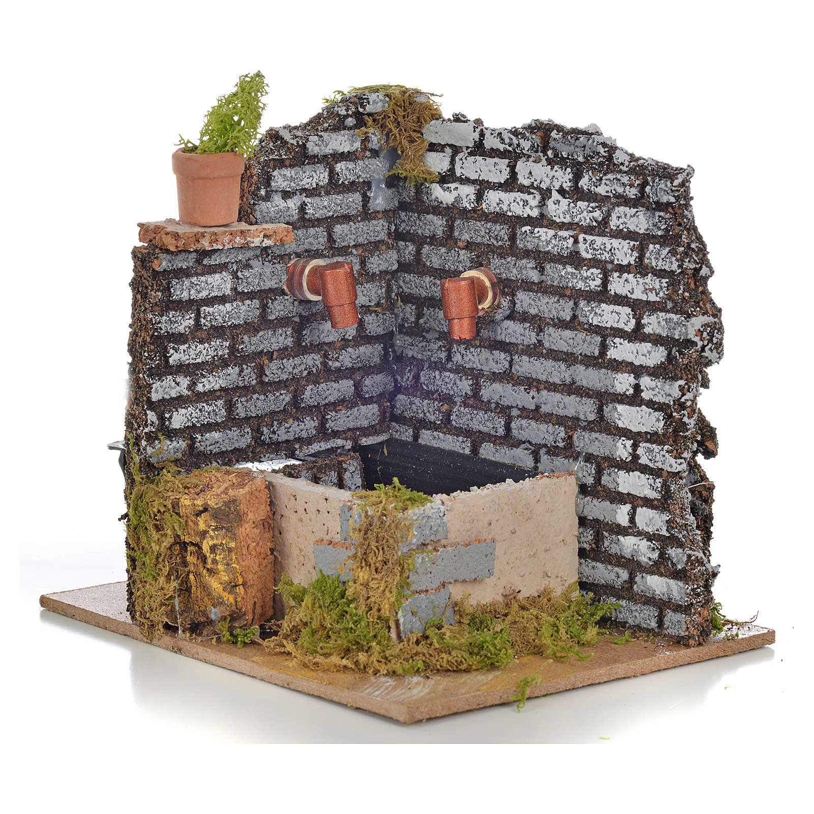 Nativity fountain with 2 streams of water, 15x12x13cm 4