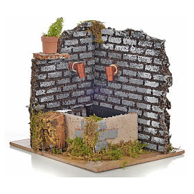 Nativity fountain with 2 streams of water, 15x12x13cm s1