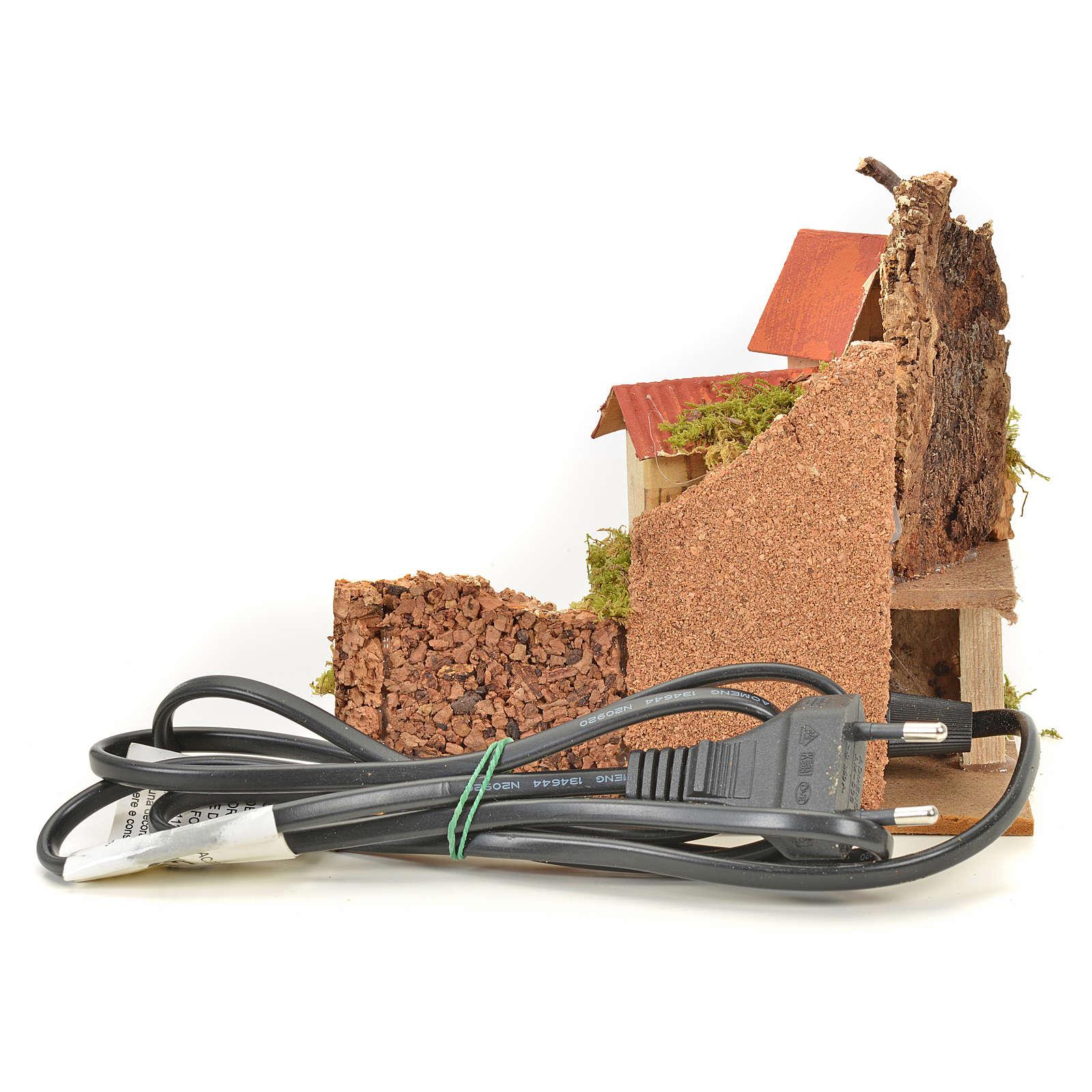 Escenografía pesebre hogar con fuego cm. 15x10x12 4