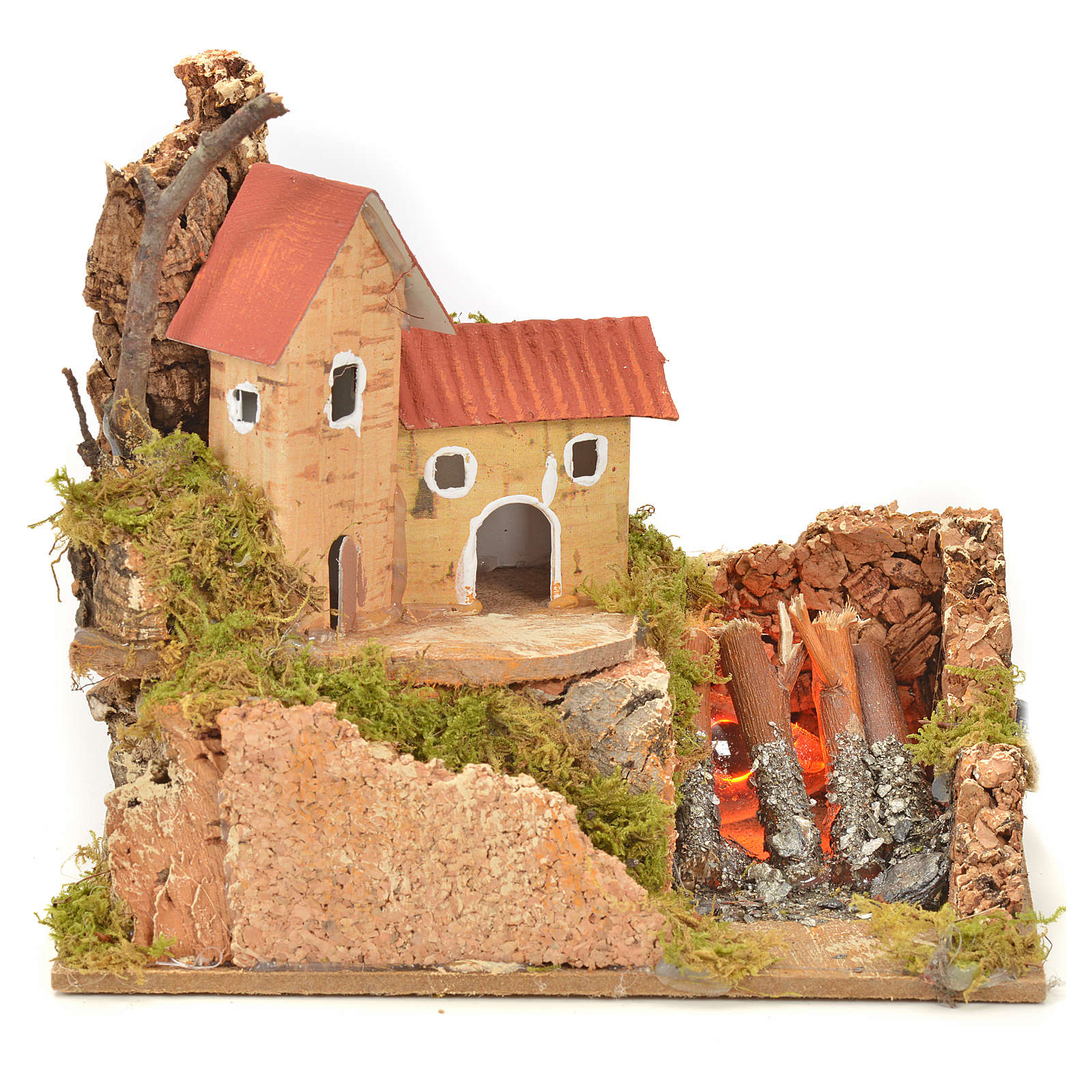 Nativity fire with lamp, flame and house, 10x15x12cm 4
