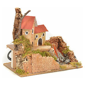 Nativity fire with lamp, flame and house, 10x15x12cm s3