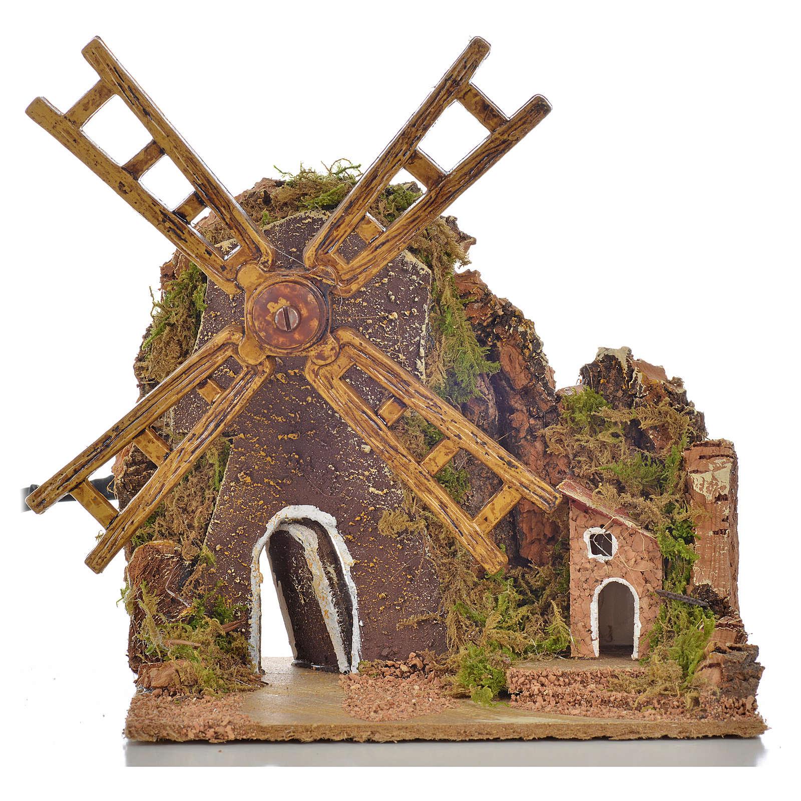 Moulin à vent animé crèche 13x10x16 cm 4
