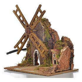 Moulin à vent animé crèche 13x10x16 cm s3