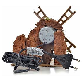 Moulin à vent animé crèche 13x10x16 cm s4