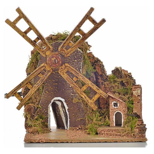 Moulin à vent animé crèche 13x10x16 cm 1
