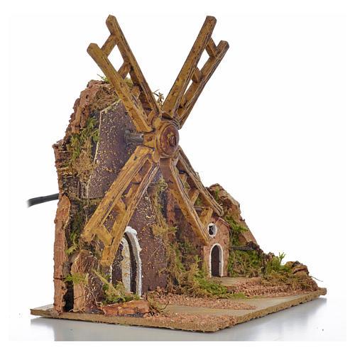 Moulin à vent animé crèche 13x10x16 cm 2