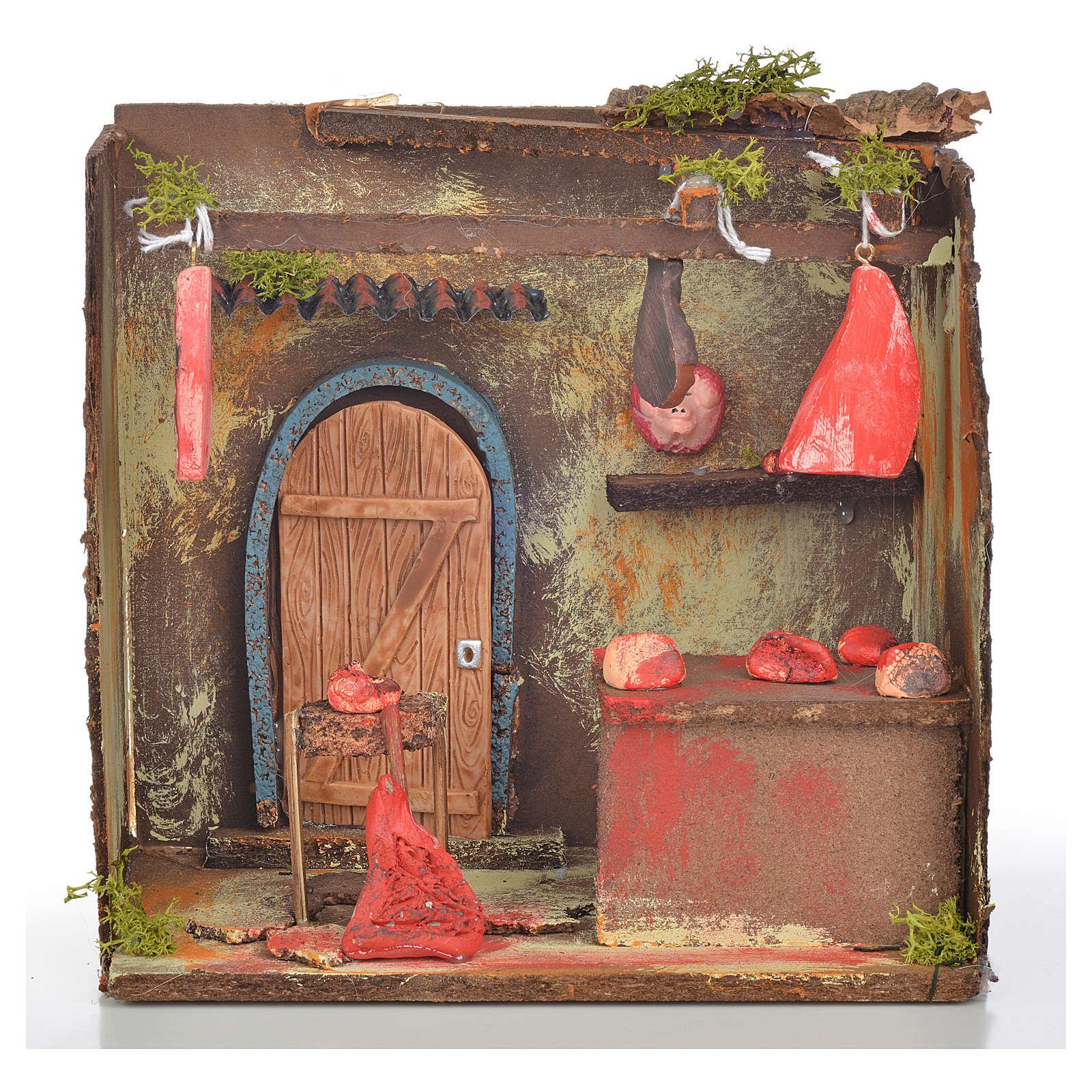 Nativity setting, butcher's workshop 20x14x20cm 4