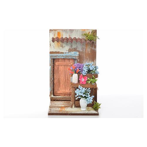 Décor crèche fleuriste 9,5x9,5x15 5