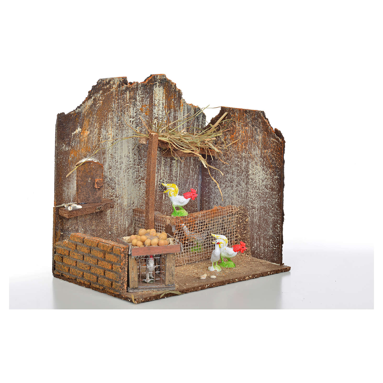 Décor crèche poulailler avec poules et oeufs 20x14x20 4