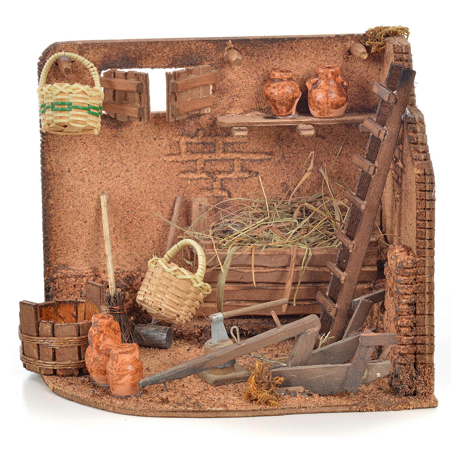 Milieu crèche Napolitaine, coin des outils agricoles 4