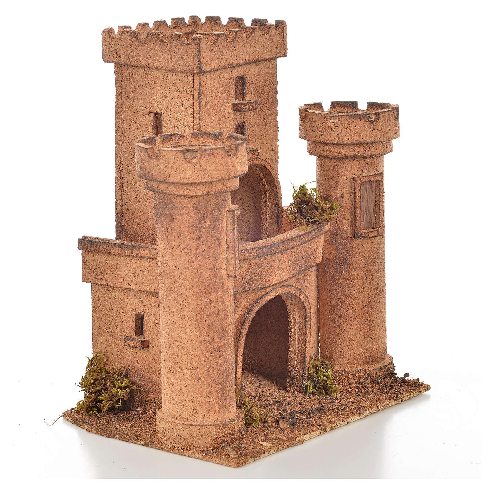 Neapolitan Nativity scene accessory, cork castle 14x18x21cm 4