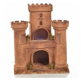 Neapolitan Nativity scene accessory, cork castle 14x18x21cm s1