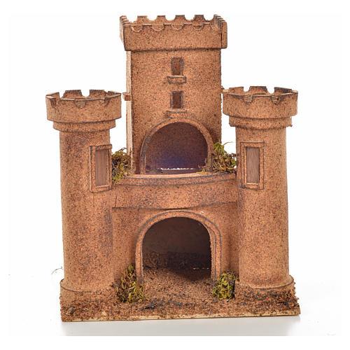 Neapolitan Nativity scene accessory, cork castle 14x18x21cm 1