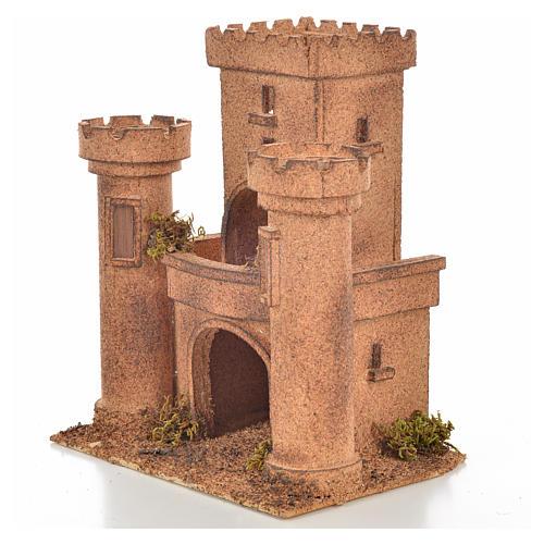Neapolitan Nativity scene accessory, cork castle 14x18x21cm 3