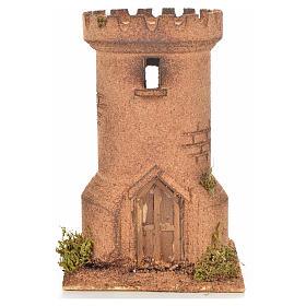 Neapolitan Nativity scene accessory, cork tower 13x13x20,5 cm s1