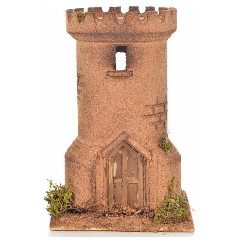 Neapolitan Nativity scene accessory, cork tower 13x13x20,5 cm 1