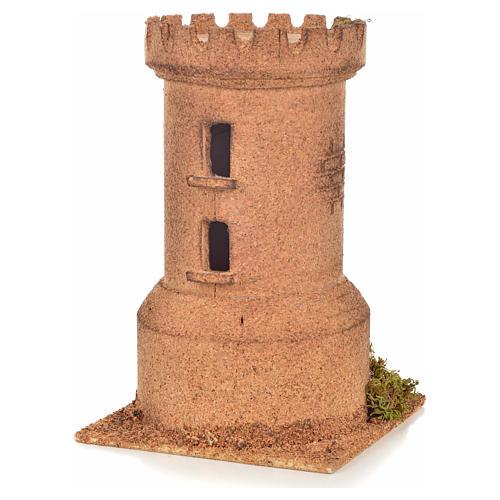 Neapolitan Nativity scene accessory, cork tower 13x13x20,5 cm 2