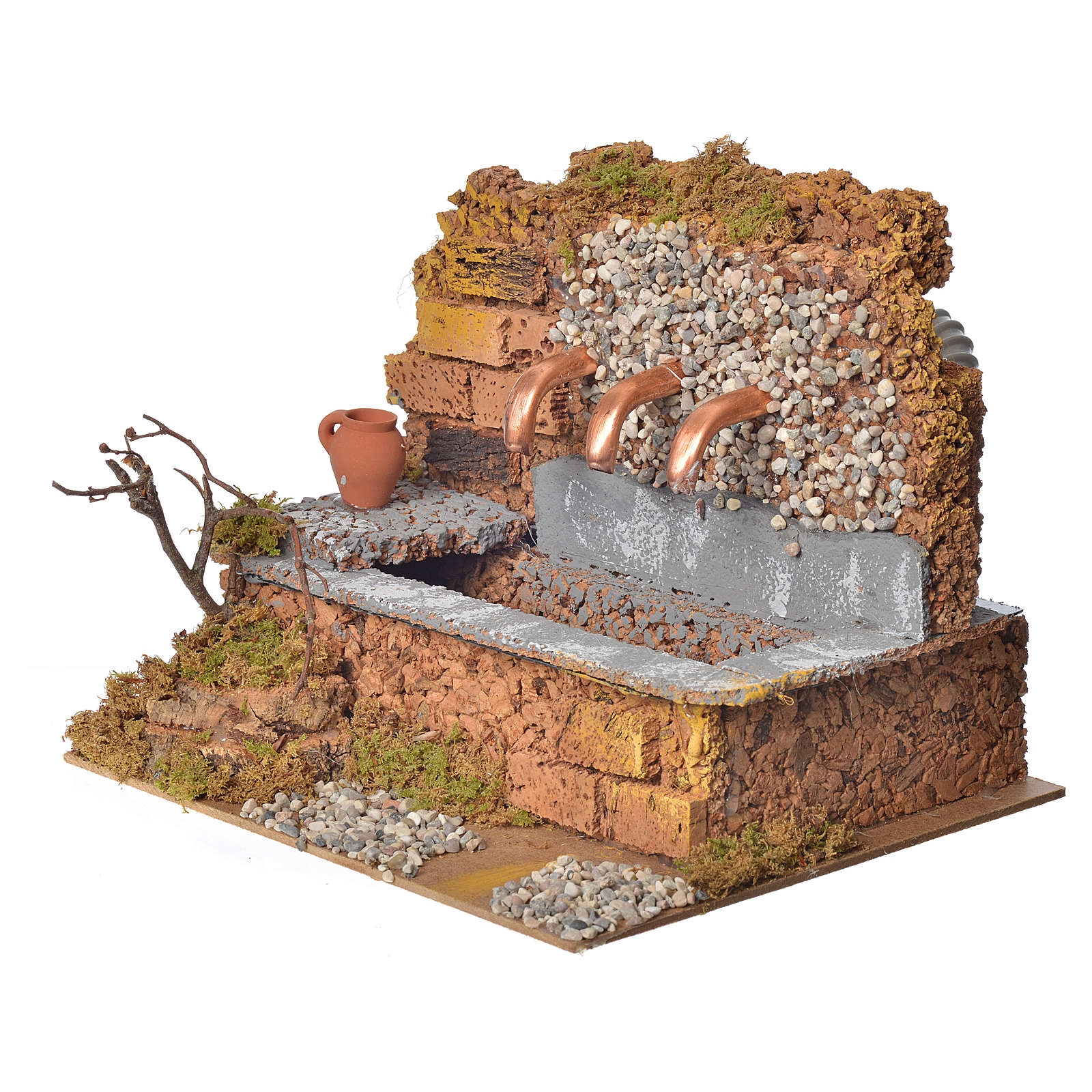 Antique nativity fountain with 3 streams 24x12x19cm 4