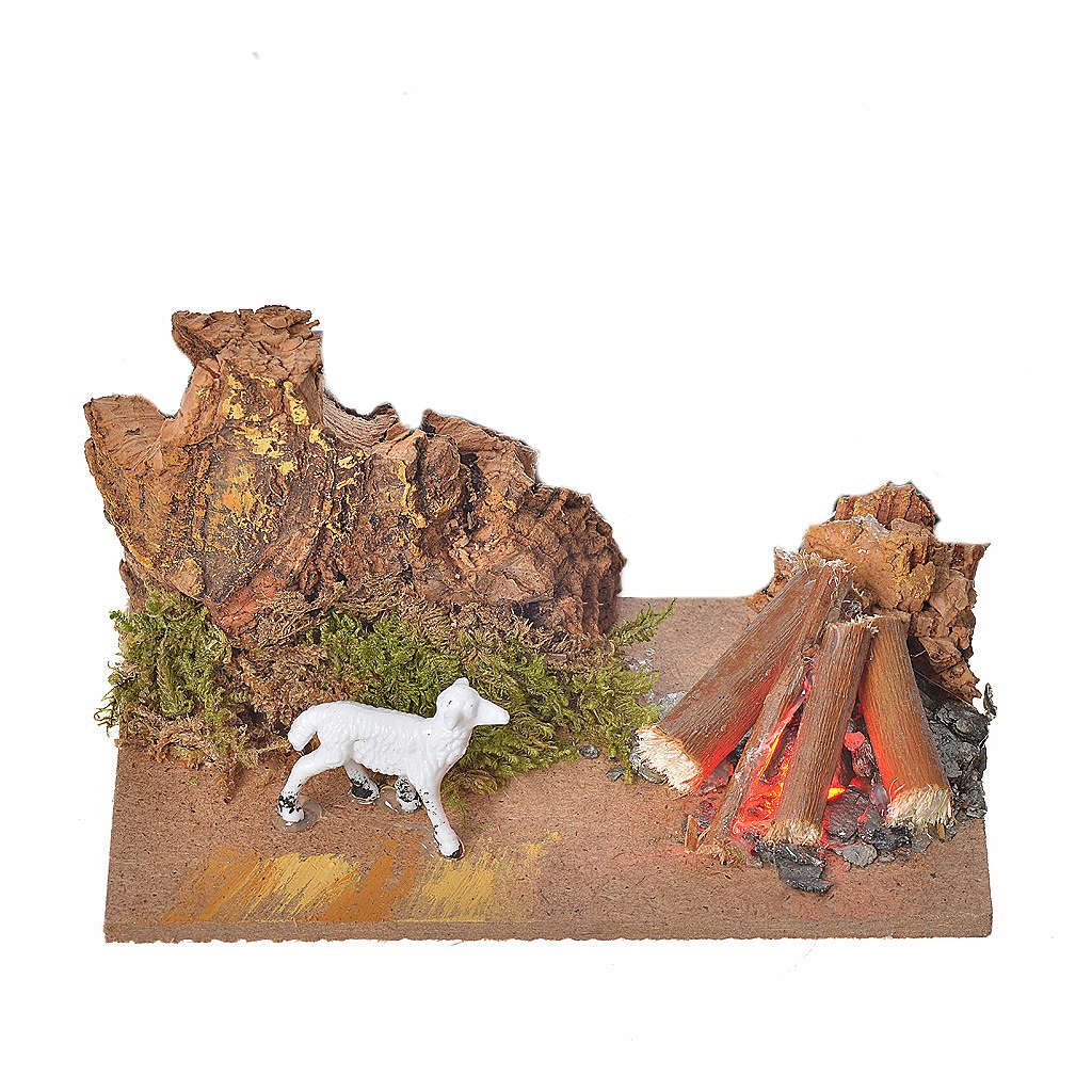 Nativity fire with flickering LED light and sheep, 10x6x4,5cm 4