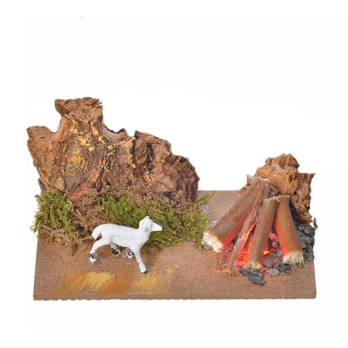 Nativity fire with flickering LED light and sheep, 10x6x4,5cm 1