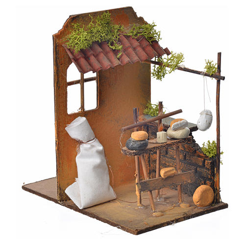 Nativity setting, cheese maker's workshop 15x9,5x9,5cm 2