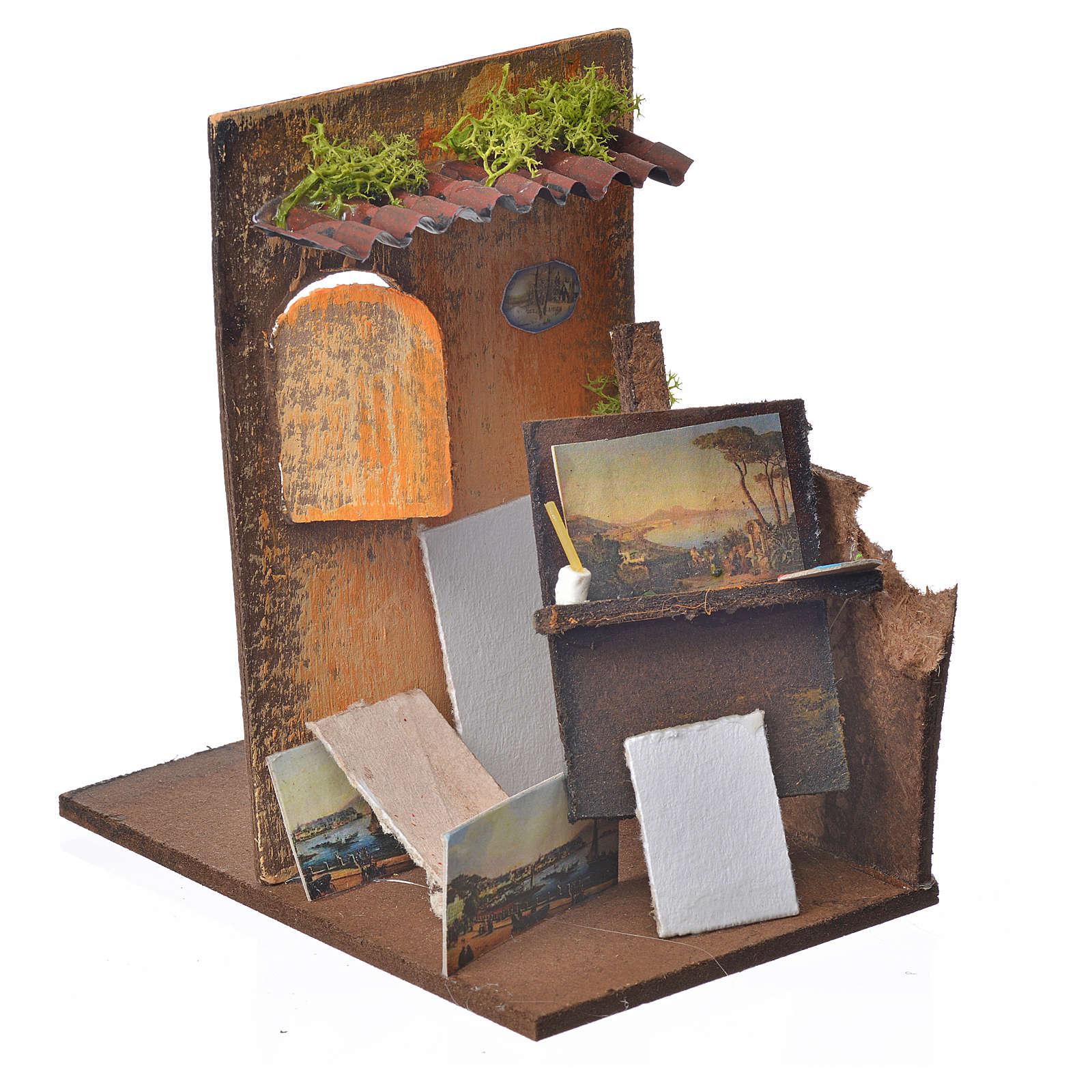Bottega pittore presepe cm 15x9,5x9,5 4