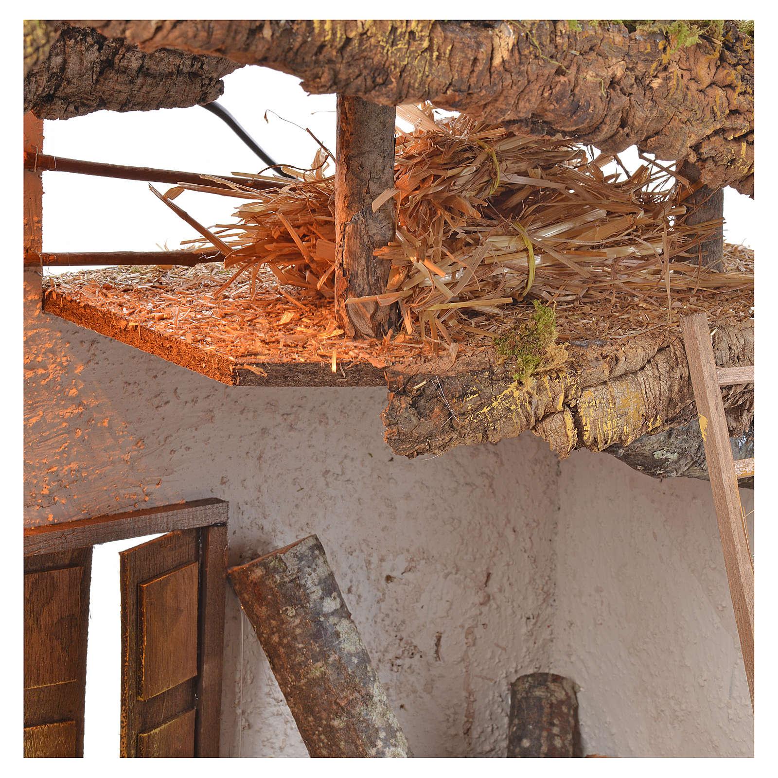 Capanna presepe legno sughero muschio cm 54x40x76 4