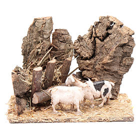 Nativity setting, goats at the manger 10x15x10cm s1