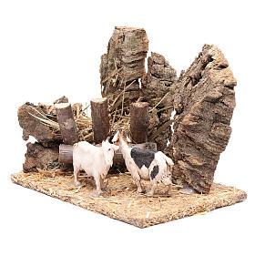 Cabras com manjedoura cenário presépio 10x15x10 cm s2