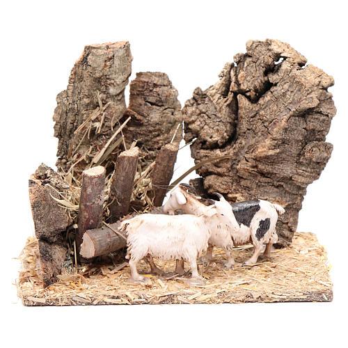 Cabras com manjedoura cenário presépio 10x15x10 cm 1