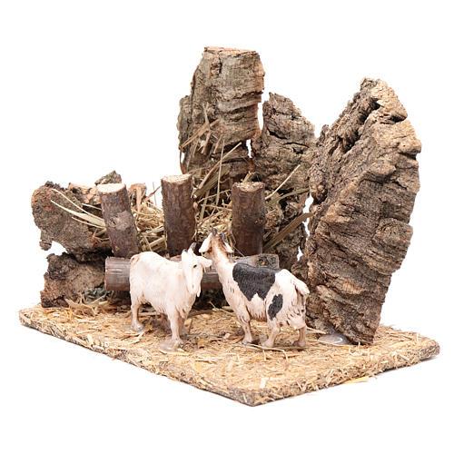 Cabras com manjedoura cenário presépio 10x15x10 cm 2