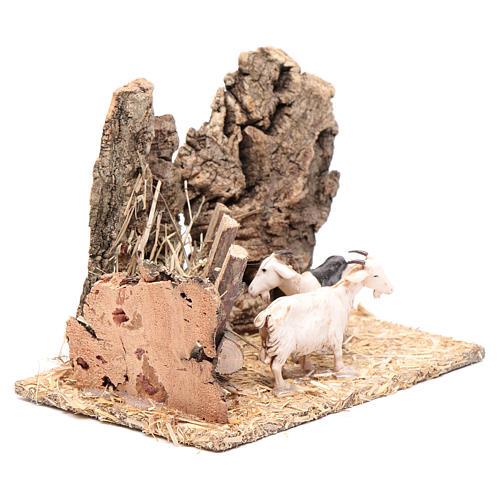 Cabras com manjedoura cenário presépio 10x15x10 cm 3