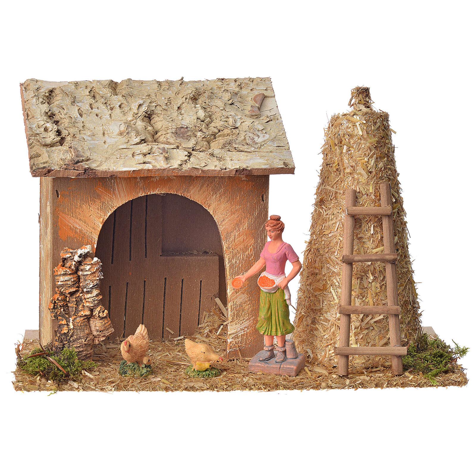 Casa contadina con galline e pagliaio 18x27x12 4