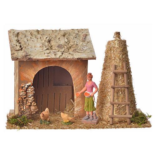 Casa contadina con galline e pagliaio 18x27x12 1