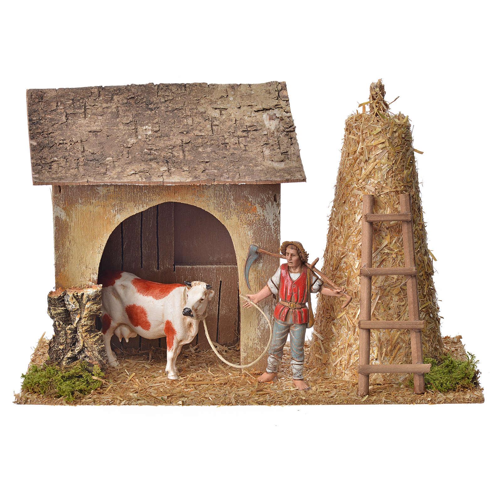 Stalla con contadino, mucca, pagliaio 20x26x10 4