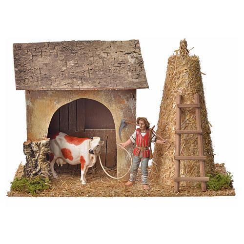 Stalla con contadino, mucca, pagliaio 20x26x10 1