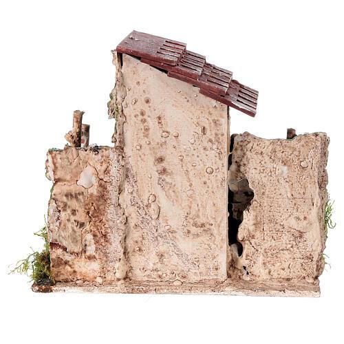 Casetta rustica con scalinata per presepe 19x19x16 4