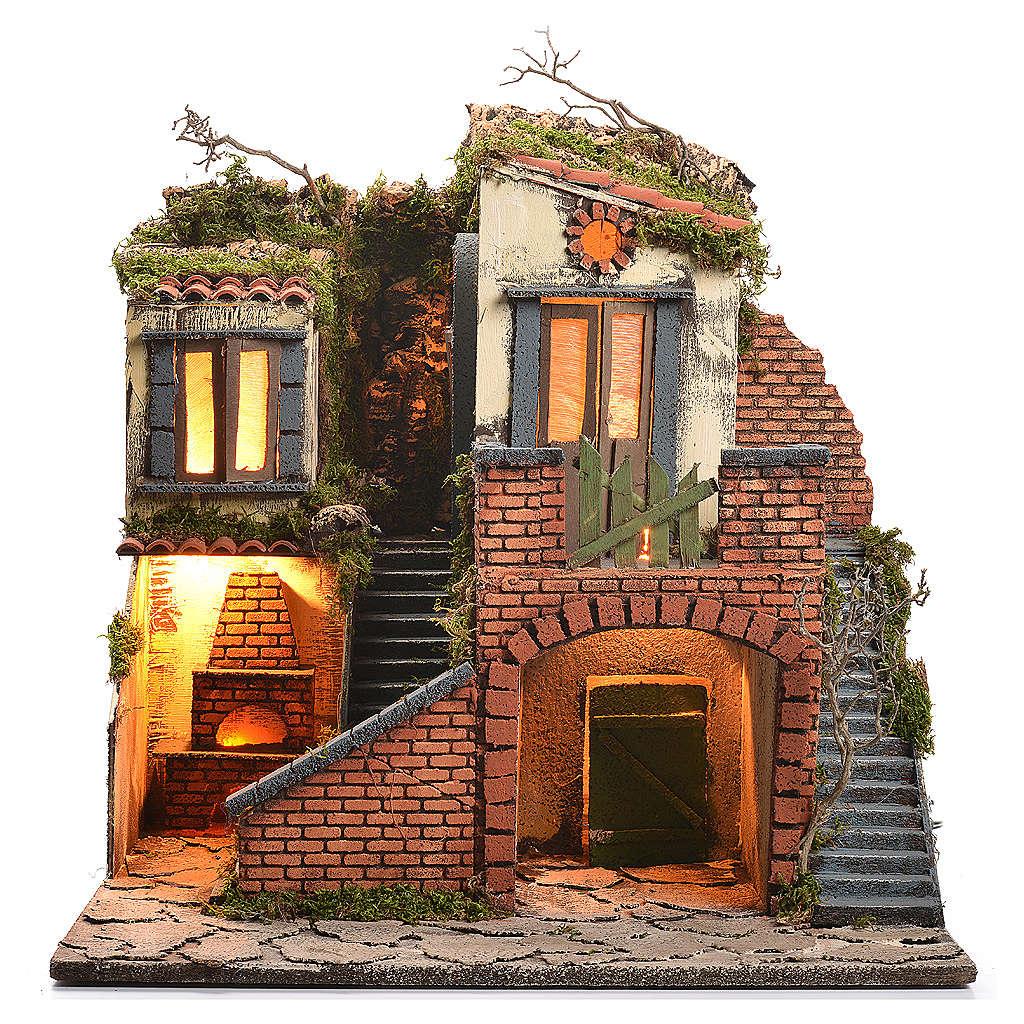 Escenografía belén napolitano estilo 700, horno y luz 47x50x41 4