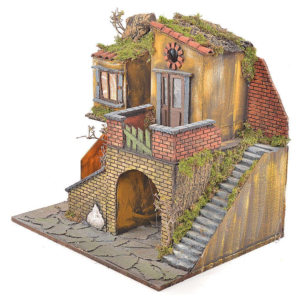 Borgo presepe napoletano stile 700 con forno e luce 47x50x41 4