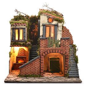Borgo presepe napoletano stile 700 con forno e luce 47x50x41 s13