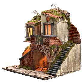 Borgo presepe napoletano stile 700 con forno e luce 47x50x41 s14