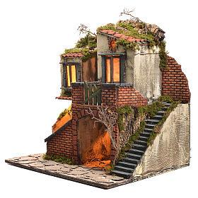 Borgo presepe napoletano stile 700 con forno e luce 47x50x41 s2